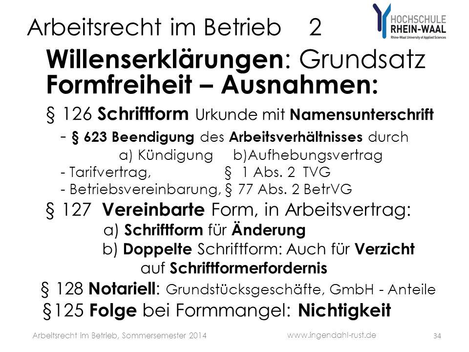Arbeitsrecht im Betrieb 2 Willenserklärungen : Grundsatz Formfreiheit – Ausnahmen: § 126 Schriftform Urkunde mit Namensunterschrift - § 623 Beendigung