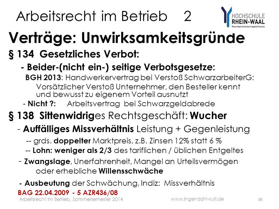 Arbeitsrecht im Betrieb 2 Verträge: Unwirksamkeitsgründe § 134 Gesetzliches Verbot: - Beider-(nicht ein-) seitige Verbotsgesetze: BGH 2013 : Handwerke