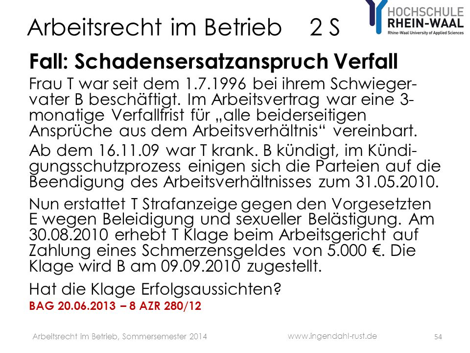Arbeitsrecht im Betrieb 2 S Fall: Schadensersatzanspruch Verfall Frau T war seit dem 1.7.1996 bei ihrem Schwieger- vater B beschäftigt. Im Arbeitsvert