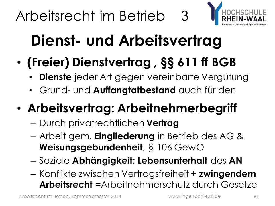 Arbeitsrecht im Betrieb 3 Dienst- und Arbeitsvertrag • (Freier) Dienstvertrag, §§ 611 ff BGB • Dienste jeder Art gegen vereinbarte Vergütung • Grund-