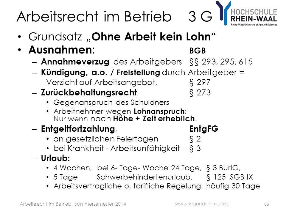 """Arbeitsrecht im Betrieb 3 G • Grundsatz """" Ohne Arbeit kein Lohn"""" • Ausnahmen : BGB – Annahmeverzug des Arbeitgebers§§ 293, 295, 615 – Kündigung, a.o."""
