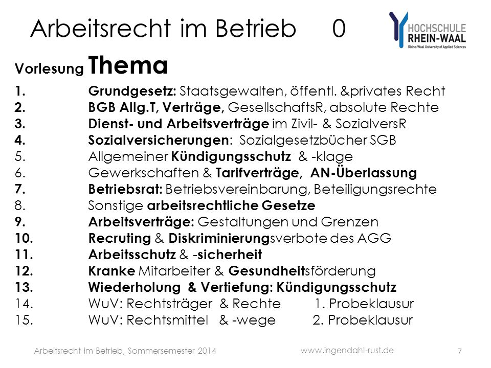 Arbeitsrecht im Betrieb 1 S Organe des Bundes: • Bundestag wird vom Volk gewählt • Bundeskanzler wird vom Bundestag gewählt • Bundesregierung Bundeskanzler ernennt die Minister = Kabinett • Bundesrat Vertretung der Länder • Bundespräsident wird von Bundesversammlung gewählt Gesetzgebungsverfahren: • Bundesregierung bringt Gesetzesvorlagen ein • Bundestag beschließt mit Abstimmungsmehrheit • Bundesrat muss teilweise zustimmen • Bundespräsident unterzeichnet, eigenes Prüfungsrecht www.ingendahl-rust.de Arbeitsrecht im Betrieb, Sommersemester 2014 18