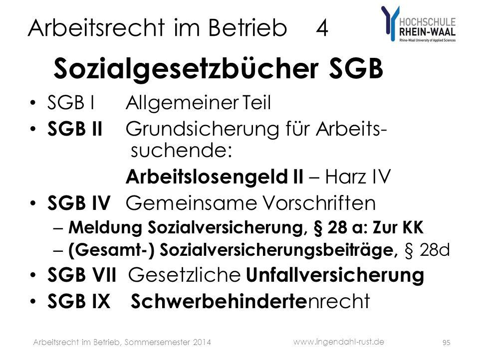 Arbeitsrecht im Betrieb 4 Sozialgesetzbücher SGB • SGB IAllgemeiner Teil • SGB II Grundsicherung für Arbeits- suchende: Arbeitslosengeld II – Harz IV