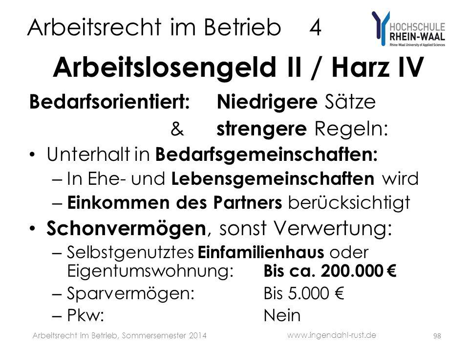 Arbeitsrecht im Betrieb 4 Arbeitslosengeld II / Harz IV Bedarfsorientiert: Niedrigere Sätze & strengere Regeln: • Unterhalt in Bedarfsgemeinschaften: