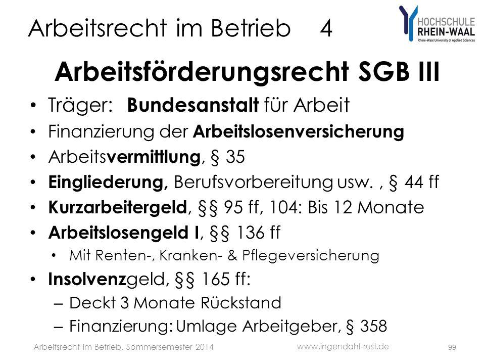 Arbeitsrecht im Betrieb 4 Arbeitsförderungsrecht SGB III • Träger: Bundesanstalt für Arbeit • Finanzierung der Arbeitslosenversicherung • Arbeits verm