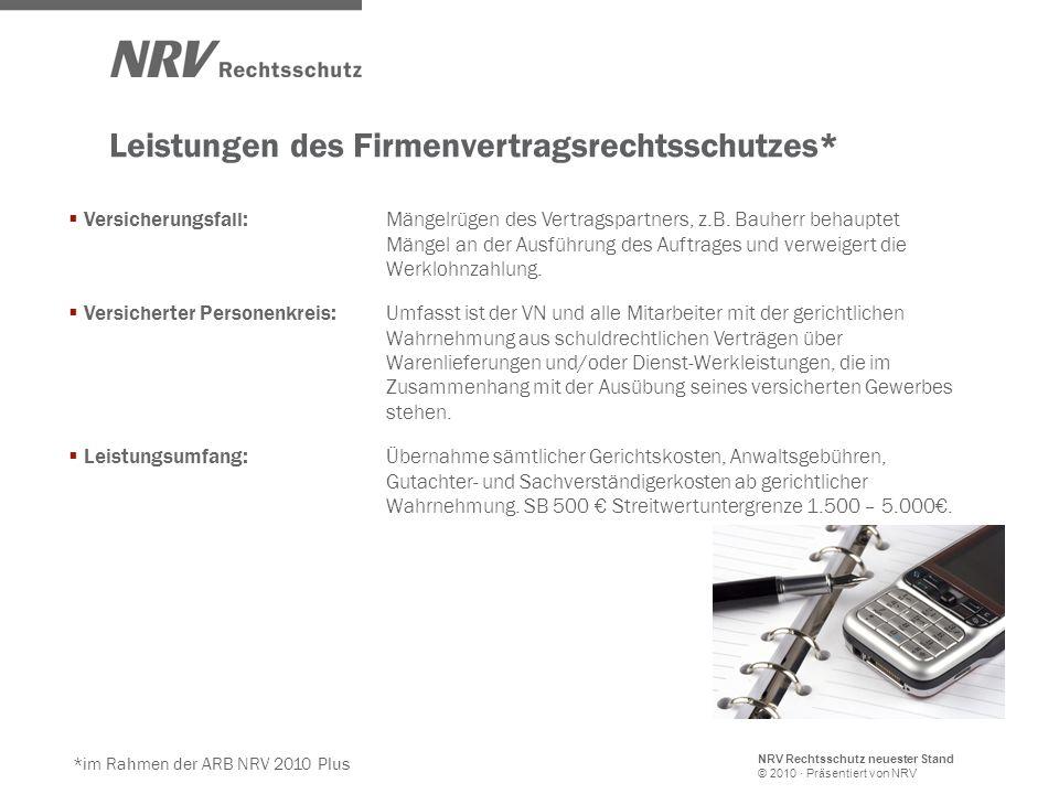 NRV Rechtsschutz neuester Stand © 2010 · Präsentiert von NRV Leistungen des Firmenvertragsrechtsschutzes*  Versicherungsfall: Mängelrügen des Vertragspartners, z.B.