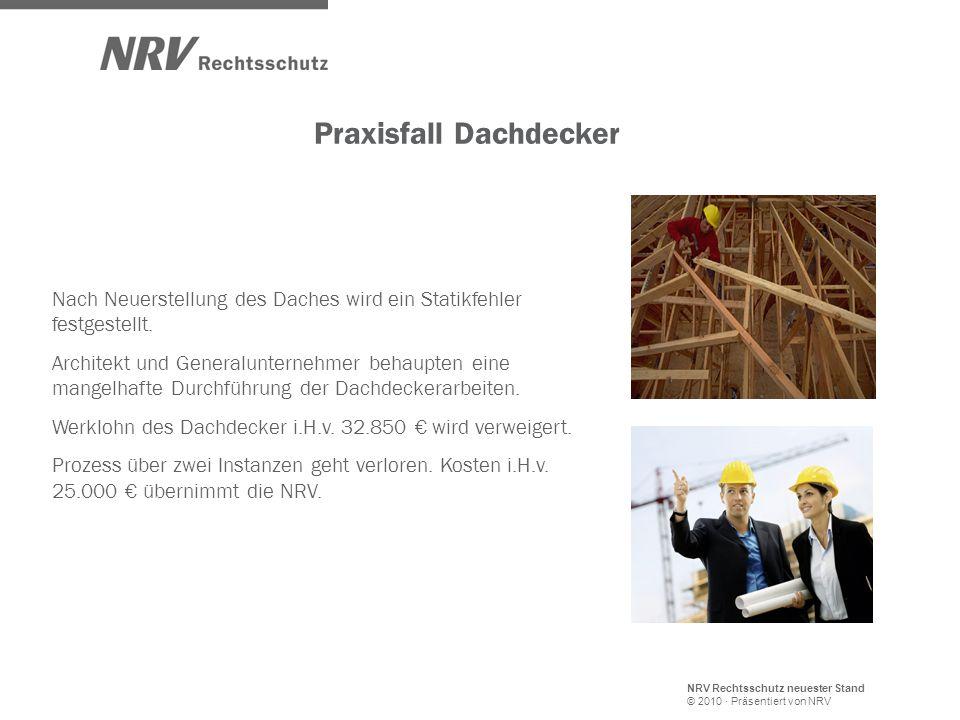 NRV Rechtsschutz neuester Stand © 2010 · Präsentiert von NRV Praxisfall Dachdecker Nach Neuerstellung des Daches wird ein Statikfehler festgestellt.