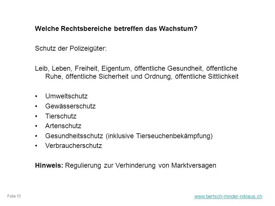 www.bertsch-minder-niklaus.ch Folie 13 Welche Rechtsbereiche betreffen das Wachstum.