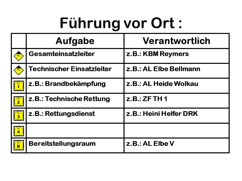 Führung vor Ort : z.B.: AL Elbe V Bereitstellungsraum z.B.: Heini Helfer DRK z.B.: Rettungsdienst z.B.: ZF TH 1 z.B.: Technische Rettung z.B.: AL Heid