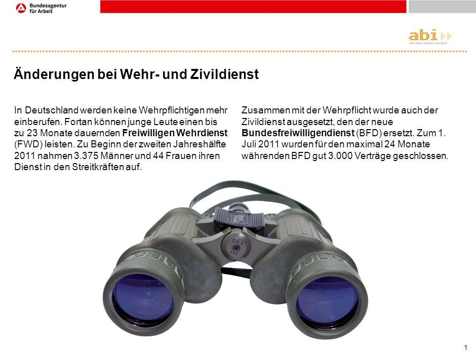 1 Änderungen bei Wehr- und Zivildienst In Deutschland werden keine Wehrpflichtigen mehr einberufen. Fortan können junge Leute einen bis zu 23 Monate d