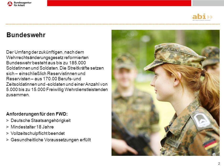 2 Bundeswehr Der Umfang der zukünftigen, nach dem Wehrrechtsänderungsgesetz reformierten Bundeswehr besteht aus bis zu 185.000 Soldatinnen und Soldate