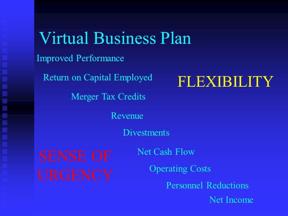Return on Capital Employed Improved Performance Merger Tax Credits Revenue Divestments Net Cash Flow Operating Costs Personnel Reductions Net Income SENSE OF URGENCY FLEXIBILITY Virtual Business Plan