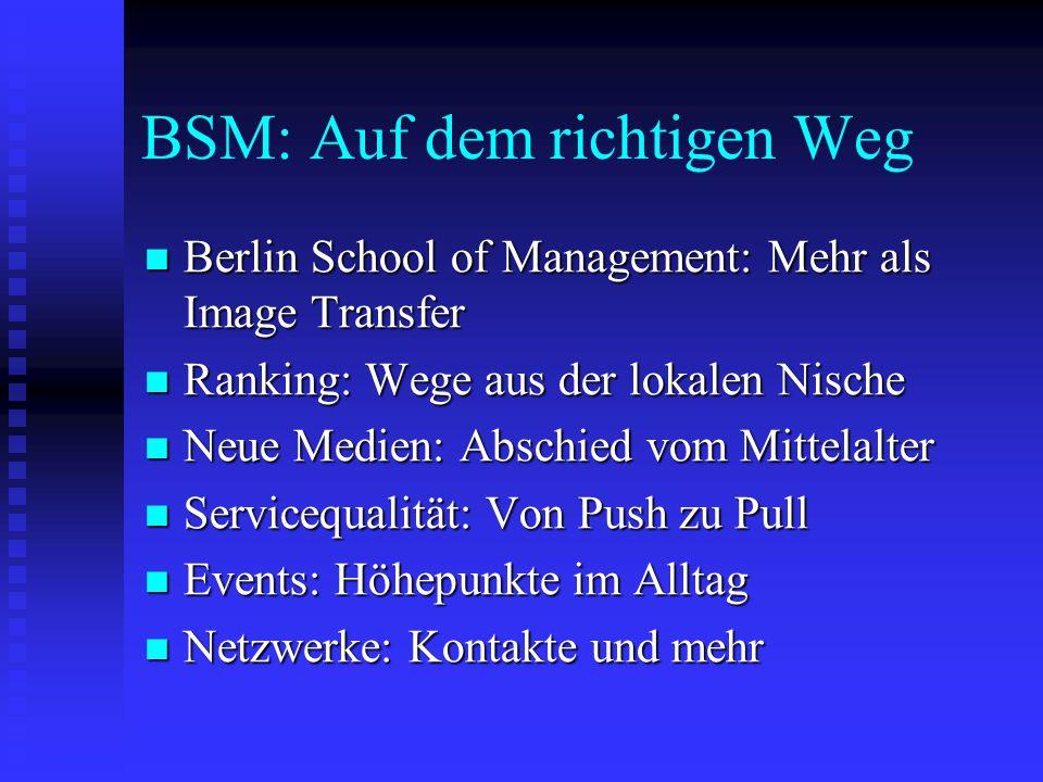 BSM: Auf dem richtigen Weg  Berlin School of Management: Mehr als Image Transfer  Ranking: Wege aus der lokalen Nische  Neue Medien: Abschied vom Mittelalter  Servicequalität: Von Push zu Pull  Events: Höhepunkte im Alltag  Netzwerke: Kontakte und mehr