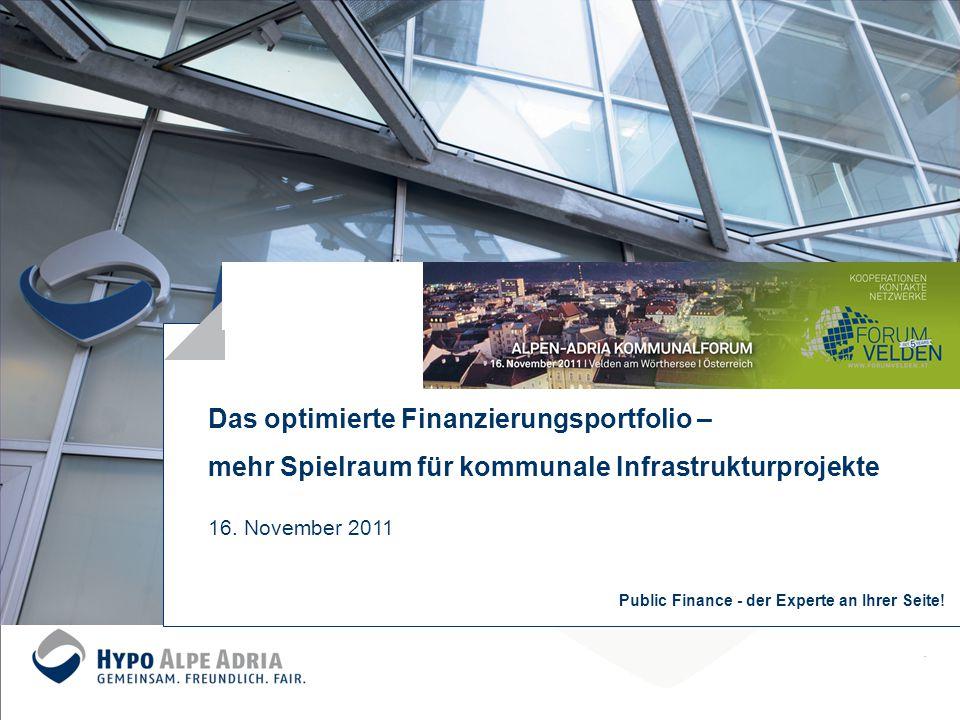 Das optimierte Finanzierungsportfolio – mehr Spielraum für kommunale Infrastrukturprojekte 16. November 2011 Public Finance - der Experte an Ihrer Sei