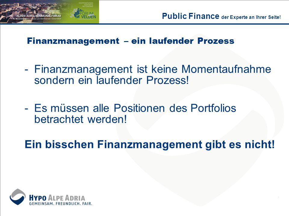 Finanzmanagement – ein laufender Prozess -Finanzmanagement ist keine Momentaufnahme sondern ein laufender Prozess! -Es müssen alle Positionen des Port