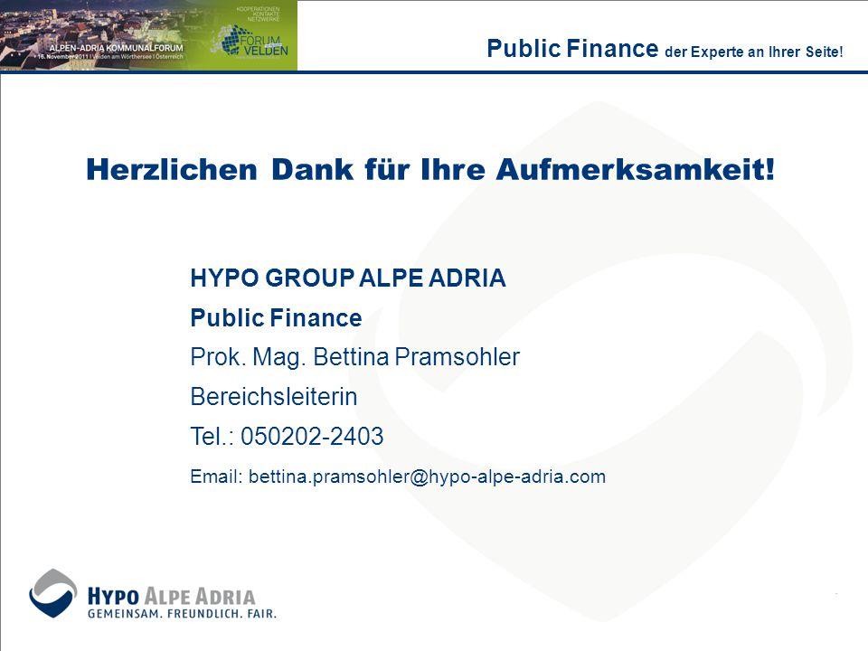 Herzlichen Dank für Ihre Aufmerksamkeit! HYPO GROUP ALPE ADRIA Public Finance Prok. Mag. Bettina Pramsohler Bereichsleiterin Tel.: 050202-2403 Email: