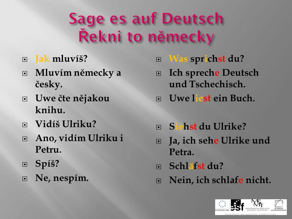  Odkud pocházíš?  Pocházím z Česka.  Kde bydlíte?  Bydlíme ve Švýcarsku.  Já se ptám a ty odpovídáš.  Posloucháš rád hudbu?  Učitel radí žákovi