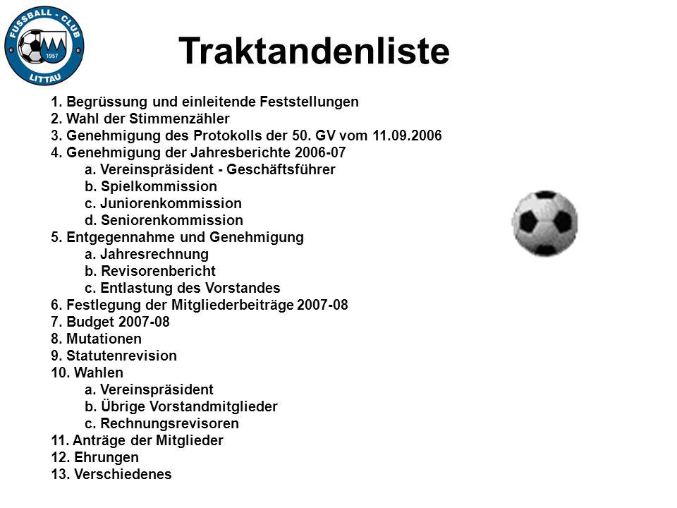 Traktandum 4: b.Spielkommission c.Juniorenkommission d.Seniorenkommission