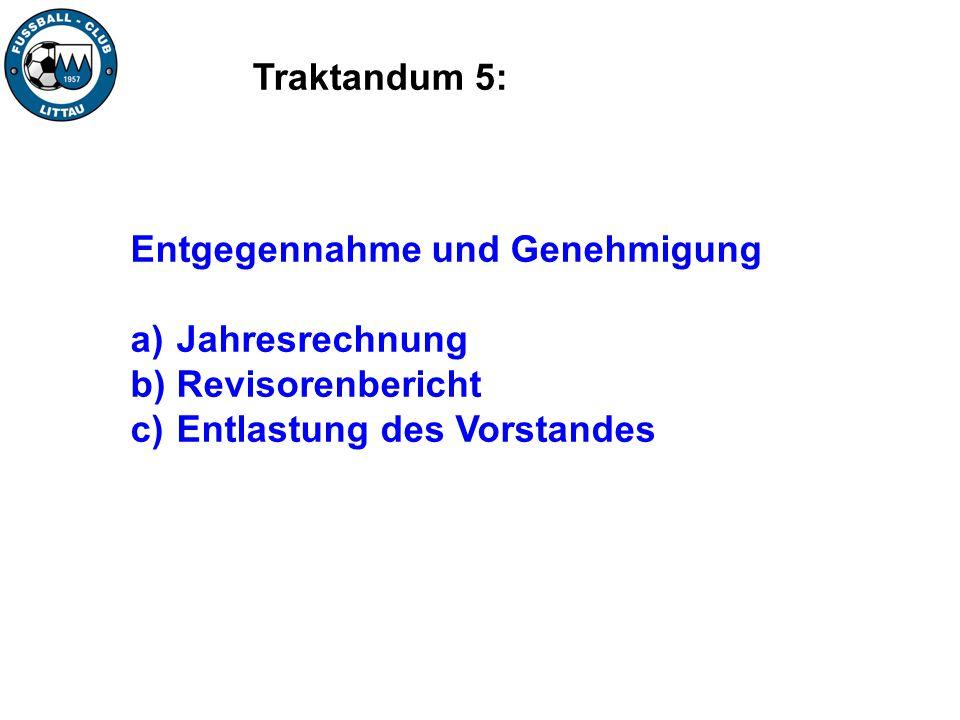Traktandum 5: Entgegennahme und Genehmigung a) Jahresrechnung b) Revisorenbericht c) Entlastung des Vorstandes