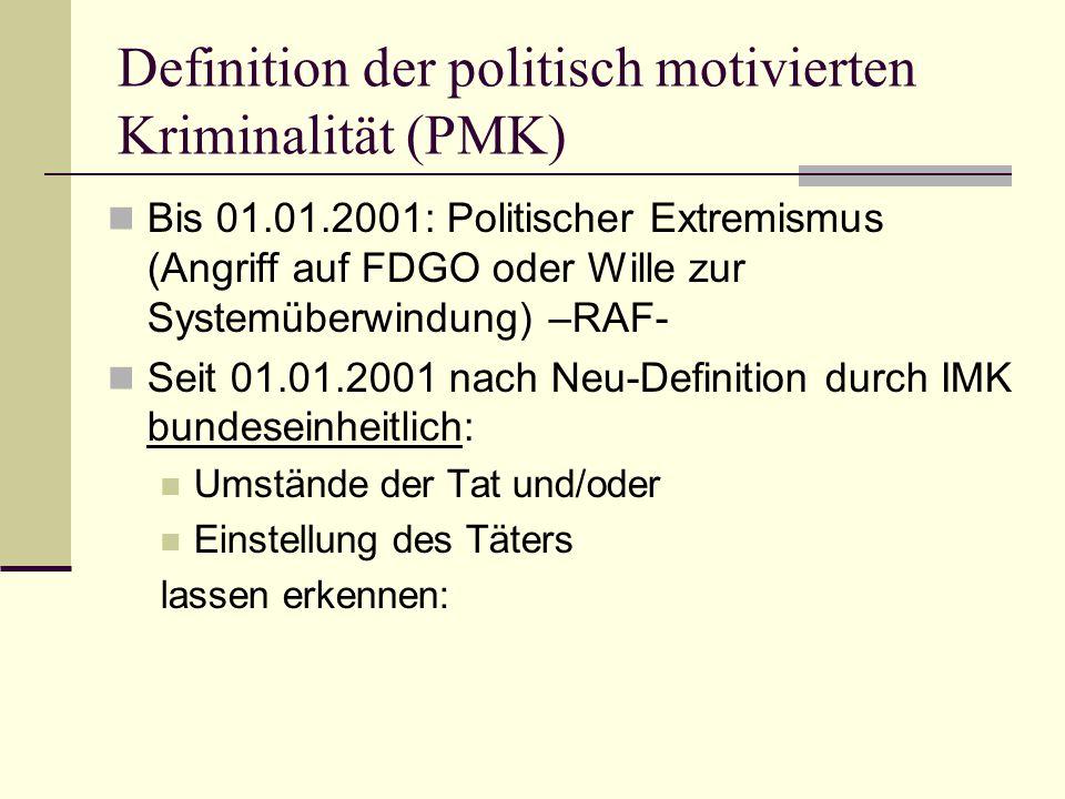 Definition der politisch motivierten Kriminalität (PMK)  Bis 01.01.2001: Politischer Extremismus (Angriff auf FDGO oder Wille zur Systemüberwindung)