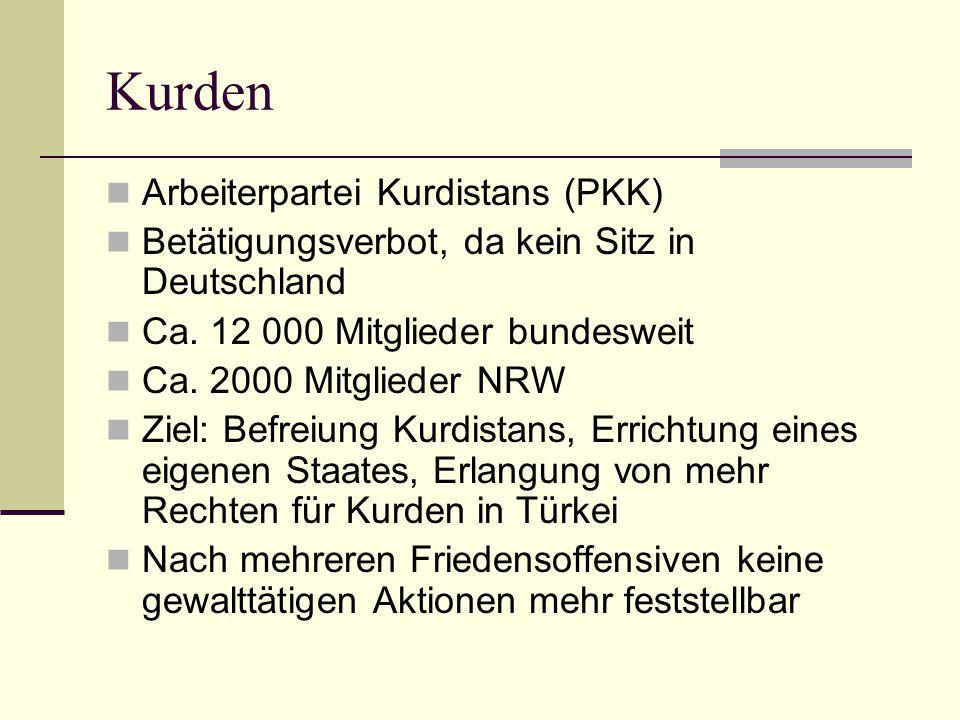 Kurden  Arbeiterpartei Kurdistans (PKK)  Betätigungsverbot, da kein Sitz in Deutschland  Ca. 12 000 Mitglieder bundesweit  Ca. 2000 Mitglieder NRW