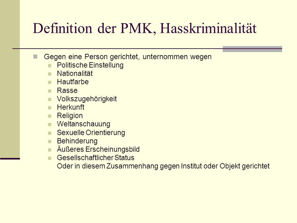 Definition der PMK, Hasskriminalität  Gegen eine Person gerichtet, unternommen wegen  Politische Einstellung  Nationalität  Hautfarbe  Rasse  Vo