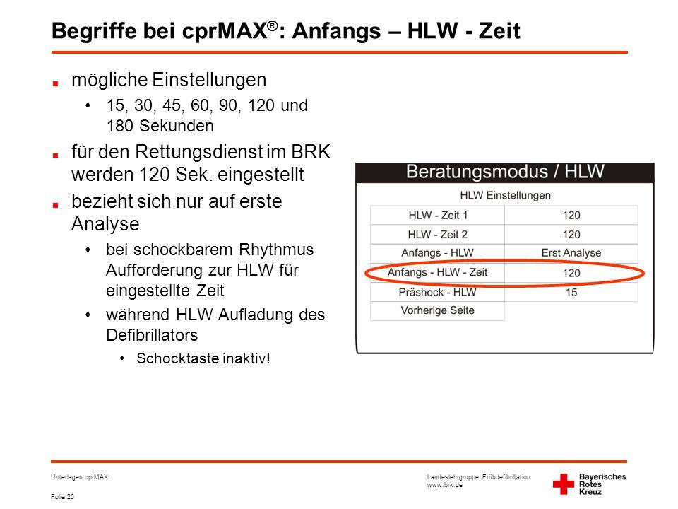 Landeslehrgruppe Frühdefibrillation www.brk.de Folie 20 Unterlagen cprMAX Begriffe bei cprMAX ® : Anfangs – HLW - Zeit mögliche Einstellungen •15, 30, 45, 60, 90, 120 und 180 Sekunden für den Rettungsdienst im BRK werden 120 Sek.