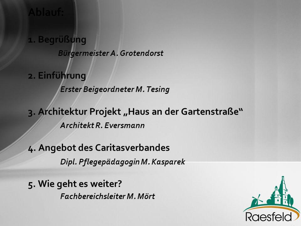 Zielsetzungen: •Breiteres Angebot –modular –abgestimmt (Erle / Raesfeld) –bedarfsgerecht •Einbeziehung örtlicher Akteure (Investoren, Bauträger, Betreuungsleistung) •Vermeidung von Fehlentwicklungen