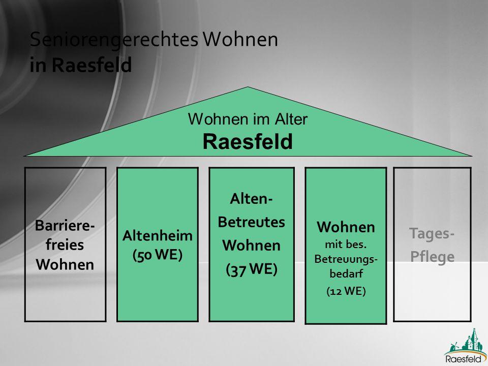 Seniorengerechtes Wohnen in Raesfeld Wohnen im Alter Raesfeld Barriere- freies Wohnen Altenheim (50 WE) Alten- Betreutes Wohnen (37 WE) Wohnen mit bes.