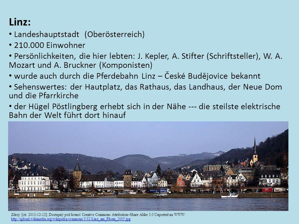 Linz: • Landeshauptstadt (Oberösterreich) • 210.000 Einwohner • Persönlichkeiten, die hier lebten: J.