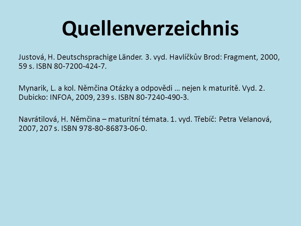 Quellenverzeichnis Justová, H. Deutschsprachige Länder.