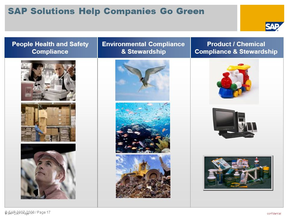 confidential© SAP 2007 / Page 17 SAP Solutions Help Companies Go Green People Health and Safety Compliance Environmental Compliance & Stewardship Prod