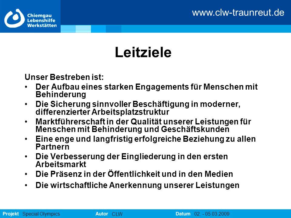 www.clw-traunreut.de Special Olympics CLW 02. - 05.03.2009 Leitziele Unser Bestreben ist: Der Aufbau eines starken Engagements für Menschen mit Behind