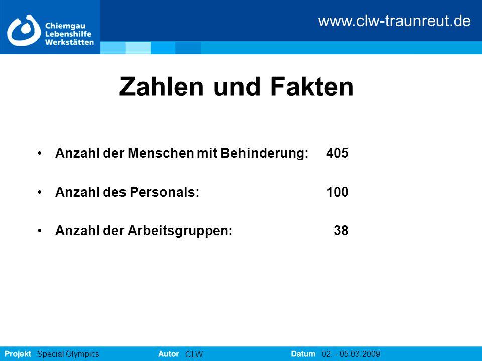 www.clw-traunreut.de Special Olympics CLW 02. - 05.03.2009 Zahlen und Fakten Anzahl der Menschen mit Behinderung: 405 Anzahl des Personals: 100 Anzahl