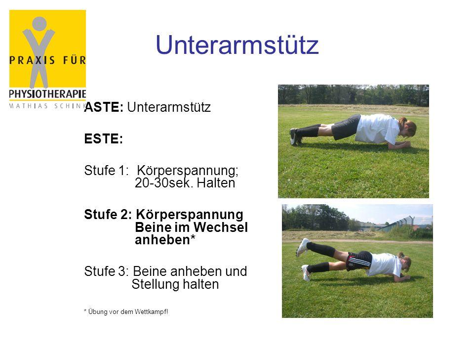 Unterarmstütz ASTE: Unterarmstütz ESTE: Stufe 1: Körperspannung; 20-30sek. Halten Stufe 2: Körperspannung Beine im Wechsel anheben* Stufe 3: Beine anh