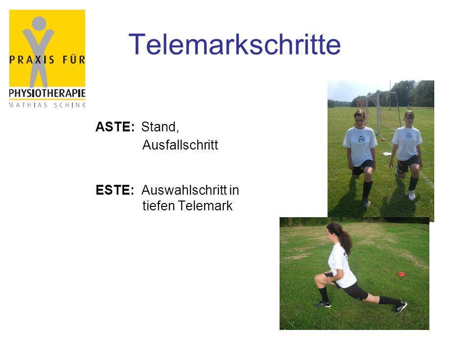 Telemarkschritte ASTE: Stand, Ausfallschritt ESTE: Auswahlschritt in tiefen Telemark
