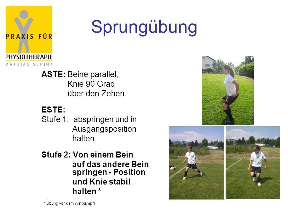Sprungübung ASTE: Beine parallel, Knie 90 Grad über den Zehen ESTE: Stufe 1: abspringen und in Ausgangsposition halten Stufe 2: Von einem Bein auf das andere Bein springen - Position und Knie stabil halten * * Übung vor dem Wettkampf!