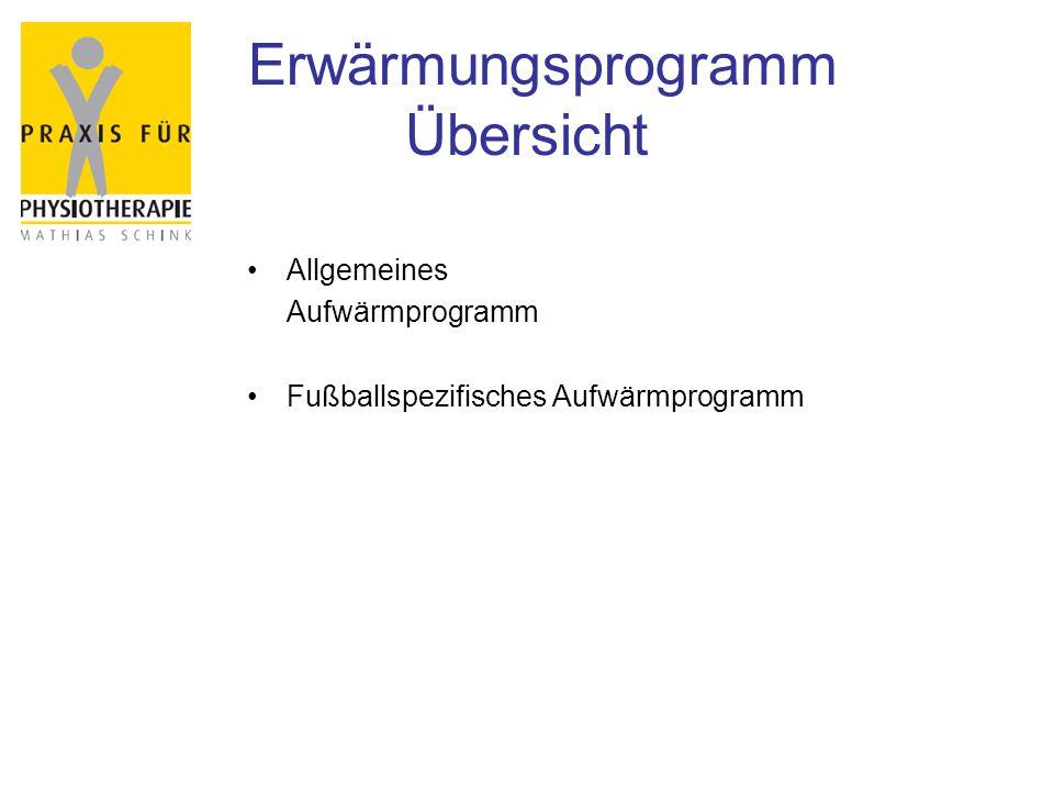 Erwärmungsprogramm Übersicht Allgemeines Aufwärmprogramm Fußballspezifisches Aufwärmprogramm
