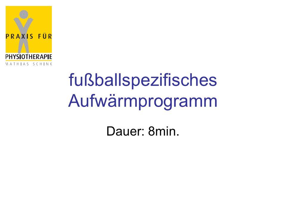 fußballspezifisches Aufwärmprogramm Dauer: 8min.