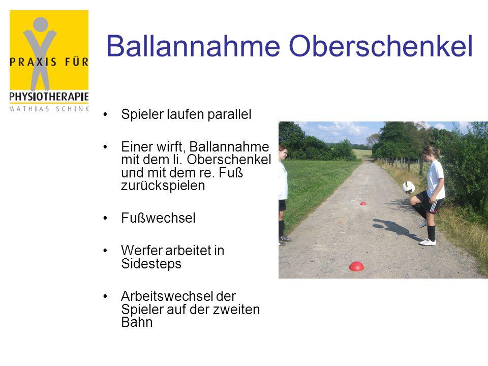 Ballannahme Oberschenkel Spieler laufen parallel Einer wirft, Ballannahme mit dem li. Oberschenkel und mit dem re. Fuß zurückspielen Fußwechsel Werfer