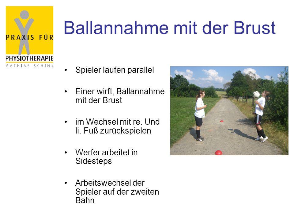Ballannahme mit der Brust Spieler laufen parallel Einer wirft, Ballannahme mit der Brust im Wechsel mit re. Und li. Fuß zurückspielen Werfer arbeitet