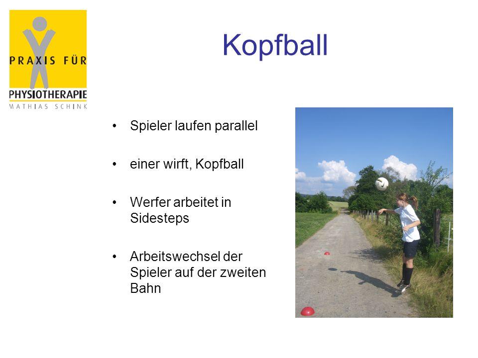 Kopfball Spieler laufen parallel einer wirft, Kopfball Werfer arbeitet in Sidesteps Arbeitswechsel der Spieler auf der zweiten Bahn