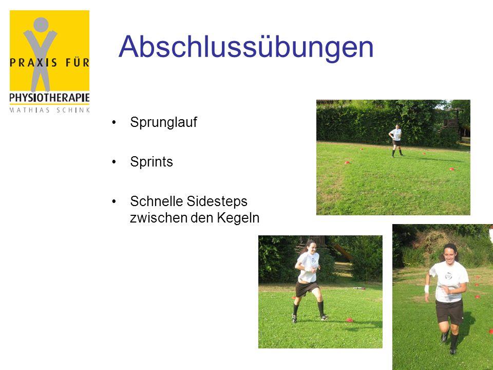 Abschlussübungen Sprunglauf Sprints Schnelle Sidesteps zwischen den Kegeln