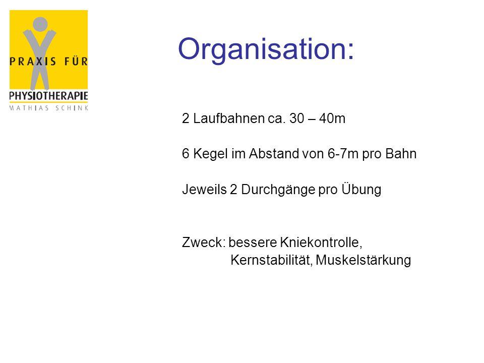 Organisation: 2 Laufbahnen ca. 30 – 40m 6 Kegel im Abstand von 6-7m pro Bahn Jeweils 2 Durchgänge pro Übung Zweck: bessere Kniekontrolle, Kernstabilit