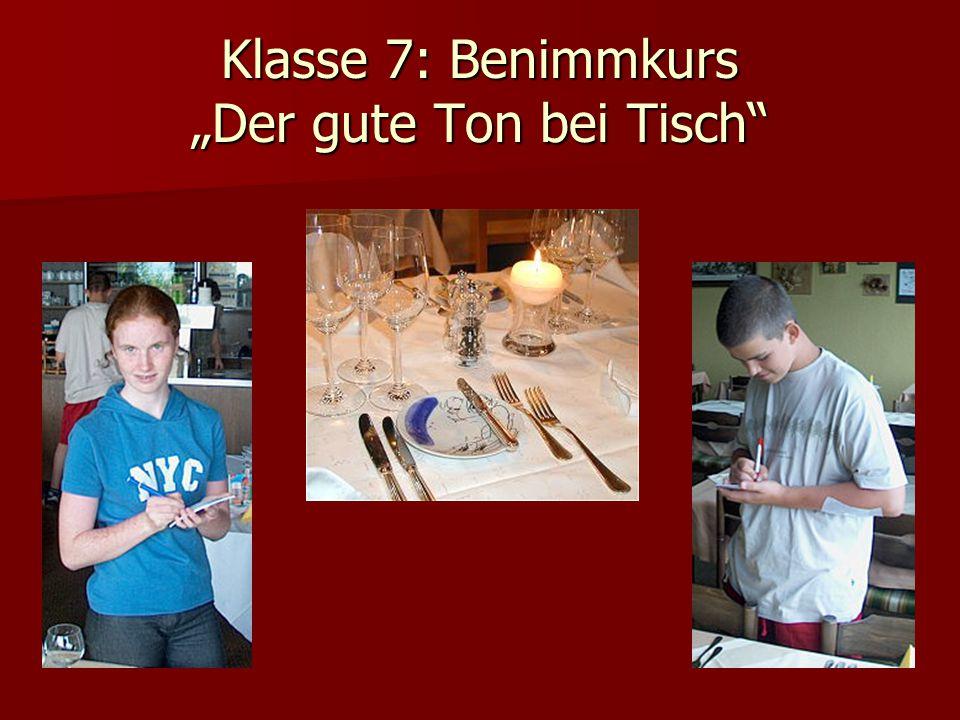 """Klasse 7: Benimmkurs """"Der gute Ton bei Tisch"""