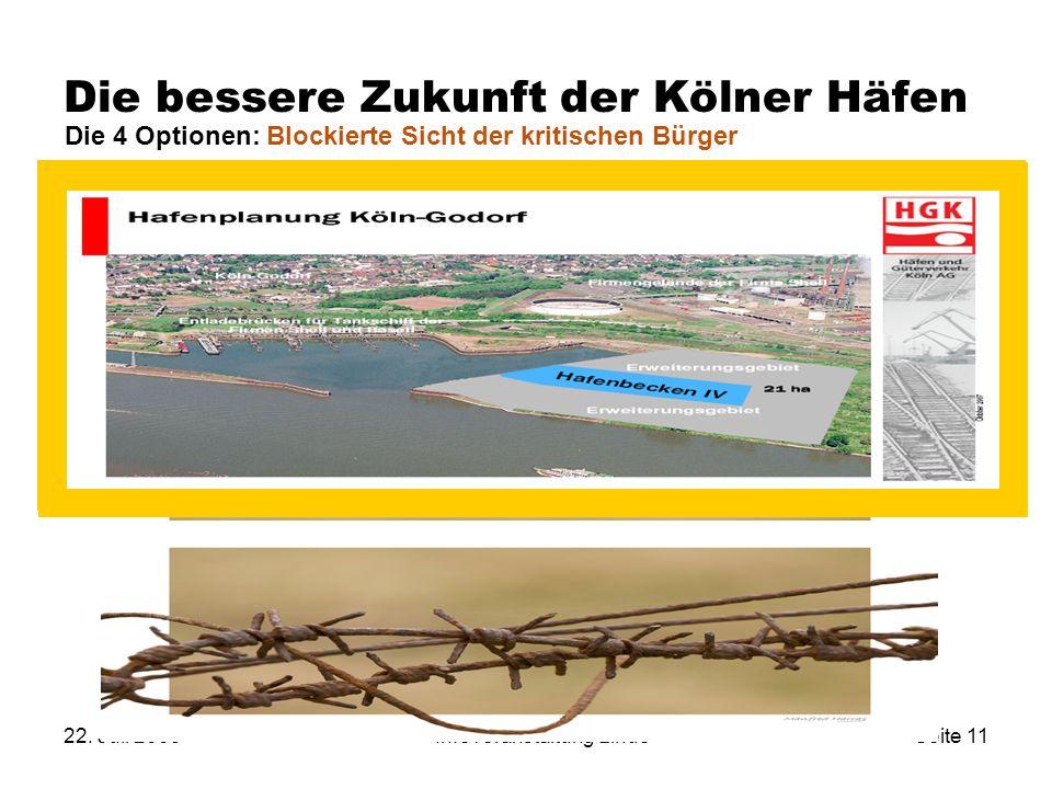 22. Juli 2009Infoveranstaltung LindeSeite 11 Die bessere Zukunft der Kölner Häfen Umnutzung Niehl I Neubau KLV-Terminal K-Nord Erweiterung Eifeltor X