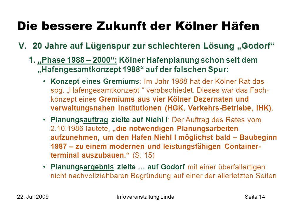 """22. Juli 2009Infoveranstaltung LindeSeite 14 Die bessere Zukunft der Kölner Häfen 1."""" Phase 1988 – 2000"""": Kölner Hafenplanung schon seit dem """"Hafenges"""