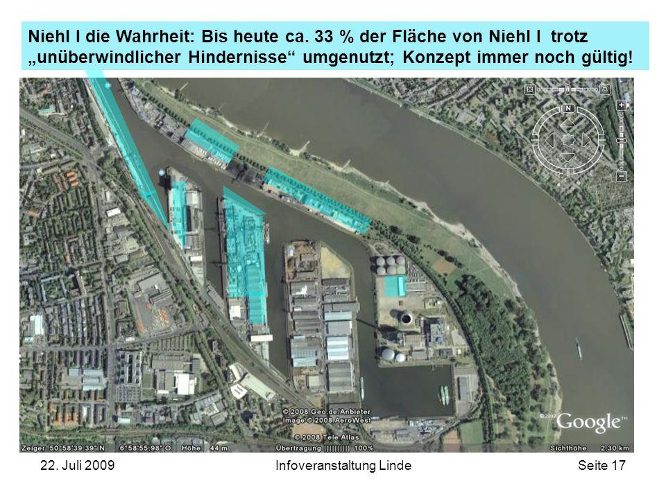 """22. Juli 2009Infoveranstaltung LindeSeite 17 Niehl I die Wahrheit: Bis heute ca. 33 % der Fläche von Niehl I trotz """"unüberwindlicher Hindernisse"""" umge"""