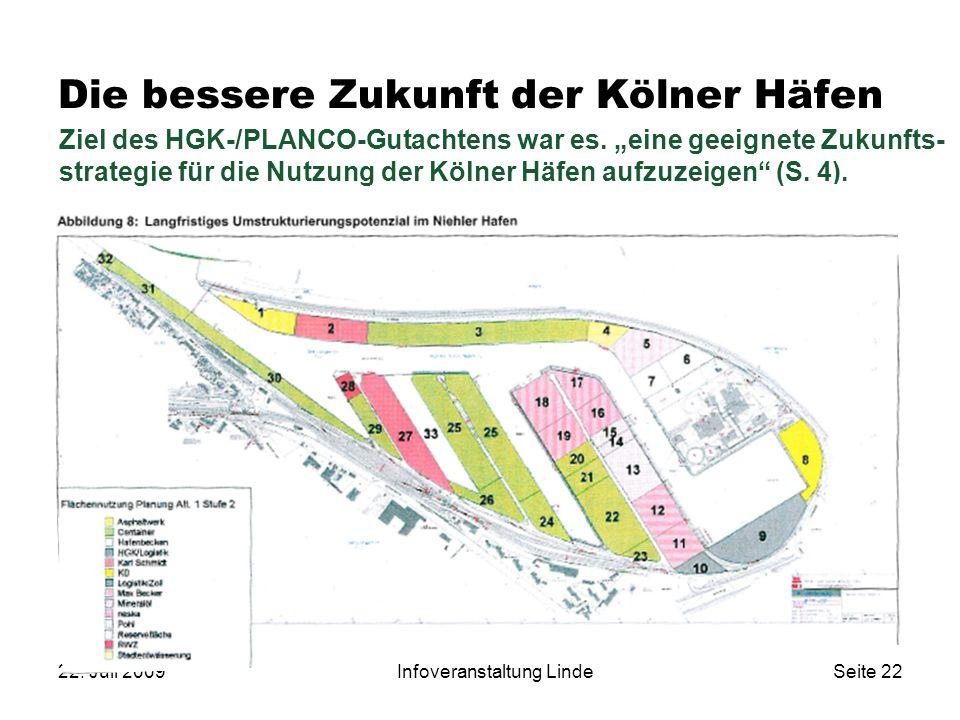 """22. Juli 2009Infoveranstaltung LindeSeite 22 Ziel des HGK-/PLANCO-Gutachtens war es. """"eine geeignete Zukunfts- strategie für die Nutzung der Kölner Hä"""
