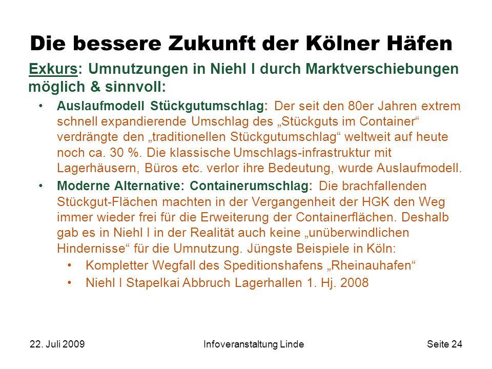 22. Juli 2009Infoveranstaltung LindeSeite 24 Die bessere Zukunft der Kölner Häfen Exkurs: Umnutzungen in Niehl I durch Marktverschiebungen möglich & s